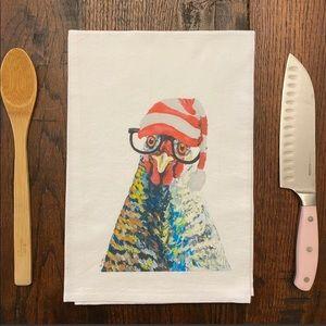 Christmas Chicken Flour Sack Farmhouse Tea Towel